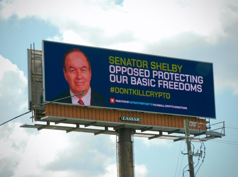 Crypto Enthusiasts Purchase Billboard Attacking Alabama Senator Richard Shelby