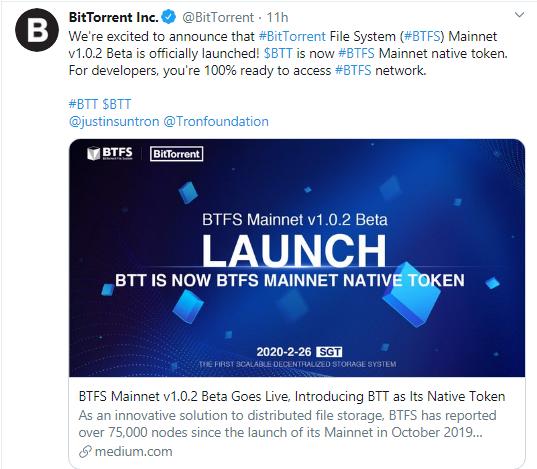 BTFS Beta Mainnet is live