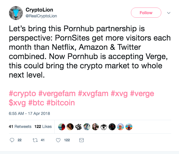 PornHub started accepting Verge!