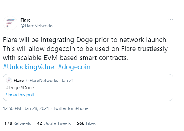 Doge goes live on Flare