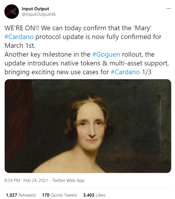 Cardano activates Mary in mainnet