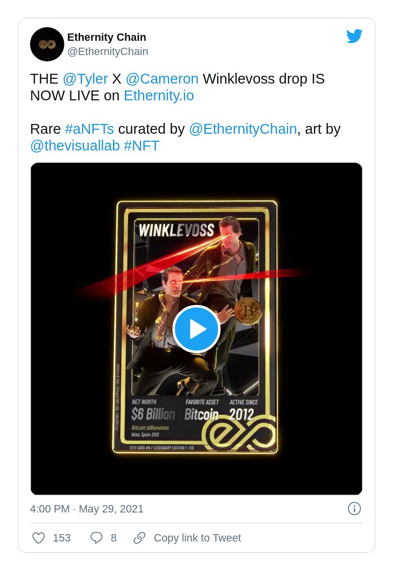 Winklevii twins immortalized by Ethernity Chain