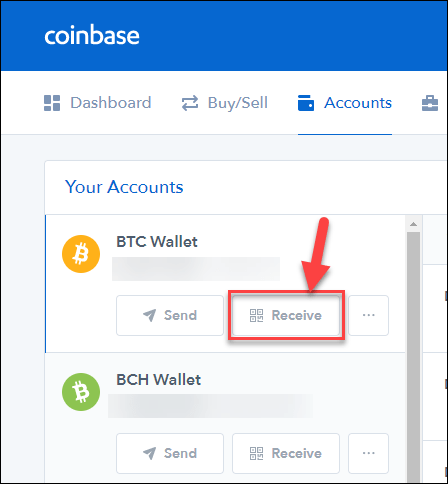 Receiving of Bitcoin payment in Coinbase