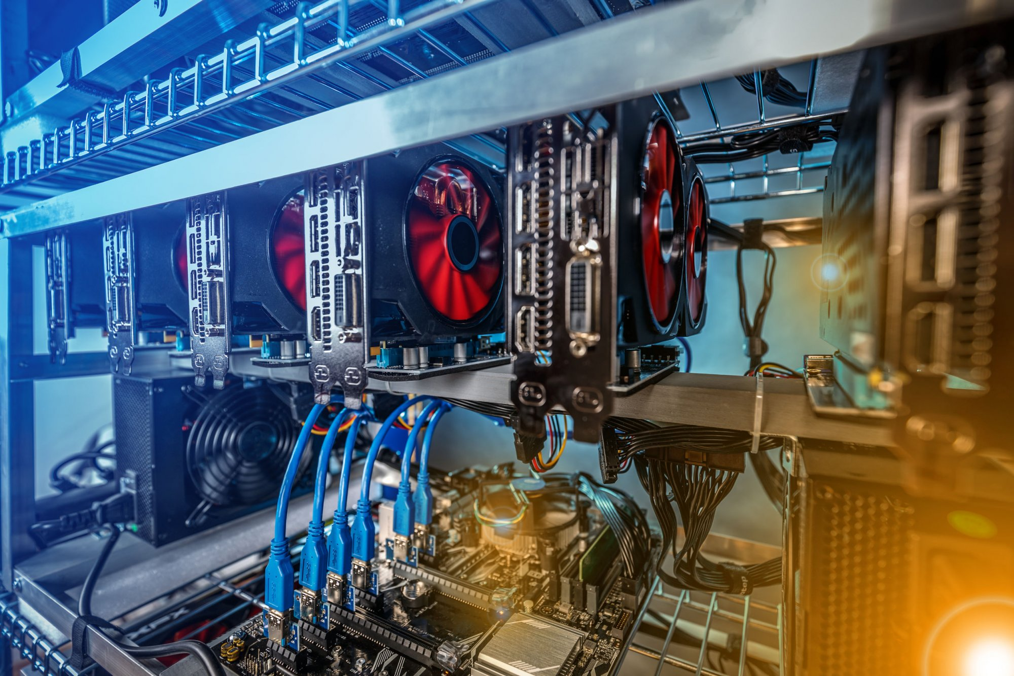 Farm for mining crypto currency on video cards