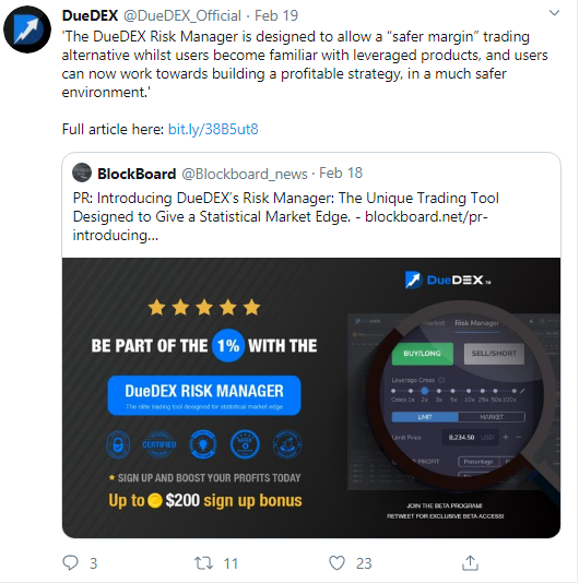 DueDEX trading platform introduces Risk Manager toolkit