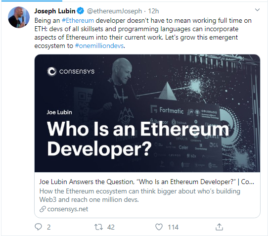 Joe Lubin explains who is Ethereum developer
