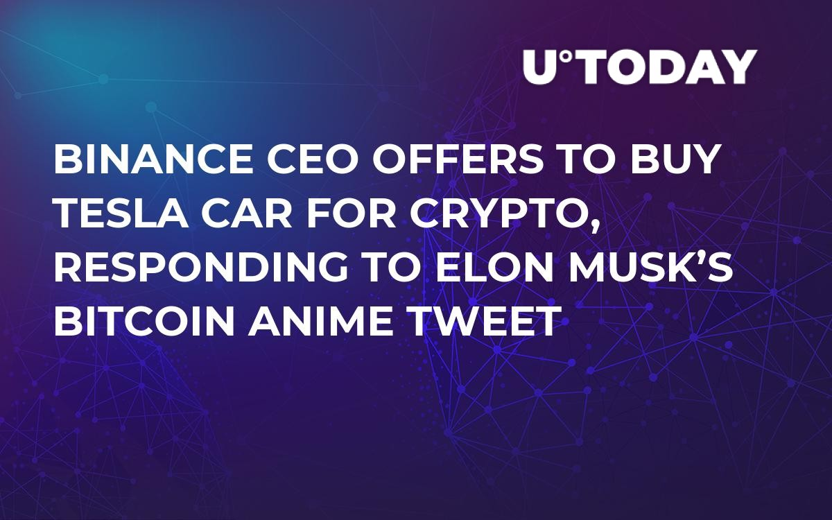 Binance CEO Offers to Buy Tesla Car for Crypto, Responding to Elon Musk's Bitcoin Anime Tweet