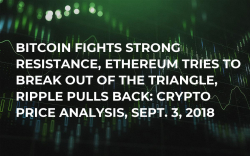 Bitcoin Fights Strong Resistance, Ethereum Tries to Break Out of the Triangle, Ripple Pulls Back: Crypto Price Analysis, Sept. 3, 2018