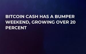 Bitcoin Cash Has a Bumper Weekend, Growing Over 20 Percent
