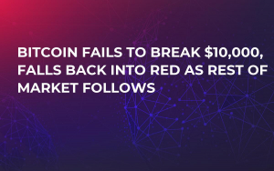 Bitcoin Fails to Break $10,000, Falls Back into Red as Rest of Market Follows