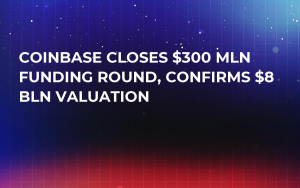 Coinbase Closes $300 Mln Funding Round, Confirms $8 Bln Valuation