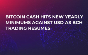 Bitcoin Cash Hits New Yearly Minimums against USD as BCH Trading Resumes