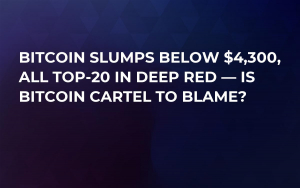 Bitcoin Slumps Below $4,300, All Top-20 in Deep Red — Is Bitcoin Cartel to Blame?