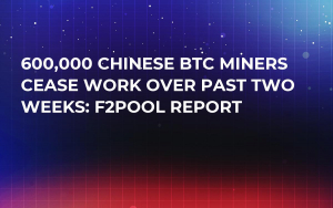 600,000 Chinese BTC Miners Cease Work Over Past Two Weeks: F2Pool Report