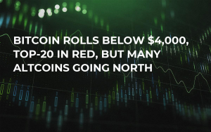Bitcoin Rolls Below $4,000, Top-20 in Red, But Many Altcoins Going North