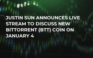Justin Sun Announces Live Stream to Discuss New BitTorrent (BTT) Coin on January 4