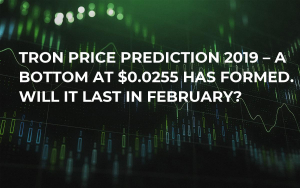 Tron Price Prediction 2019 – A Bottom at $0.0255 Has Formed. Will It Last in February?