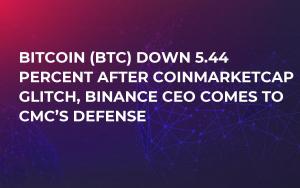 Bitcoin (BTC) Down 5.44 Percent After CoinMarketCap Glitch, Binance CEO Comes to CMC's Defense