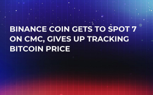 Binance Coin Gets to Spot 7 on CMC, Gives Up Tracking Bitcoin Price