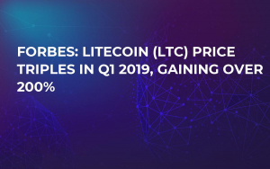 Forbes: Litecoin (LTC) Price Triples in Q1 2019, Gaining Over 200%