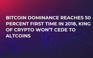 Bitcoin Dominance Reaches 50 Percent First Time in 2018, King of Crypto Won't Cede to Altcoins