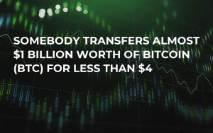 Somebody Transfers Almost $1 Billion Worth of Bitcoin (BTC) for Less Than $4
