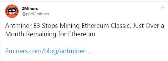 Ethereum Classic mining terminated on Antminer E3