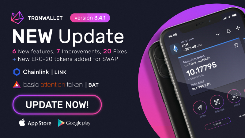 Tronwallet adds BAT and LINK