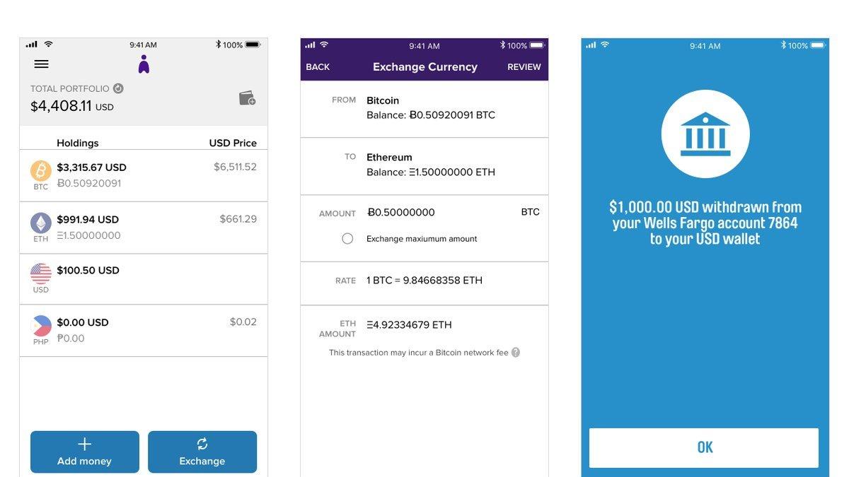 Abra wallet interface