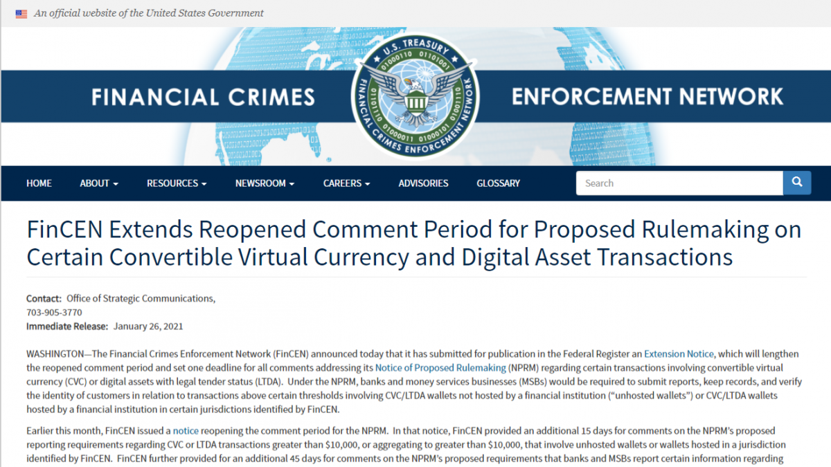 FinCEN allows 60 more days for comments on rulemaking proposal