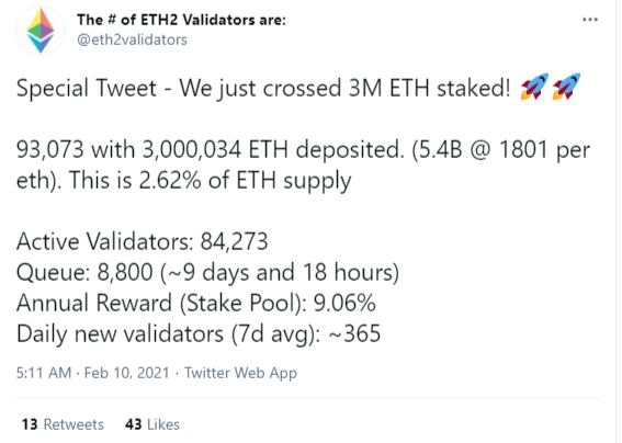 3,000,000 Ethers locked in ETH2 deposit contract