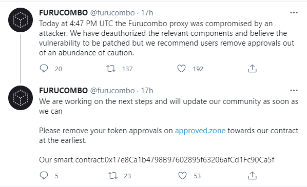 FuruCombo (COMBO) reports $15 million loss due to attack