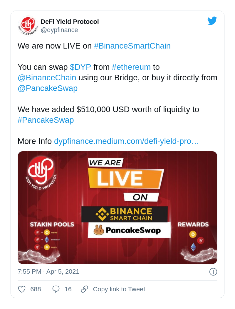 DYP Finance launches on Binance Smart Chain