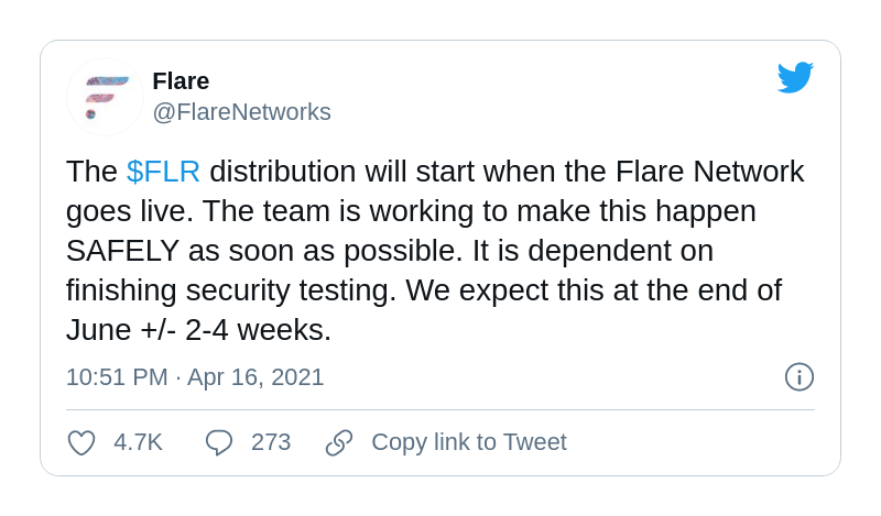 Flare Networks shared the dates of its mainnet