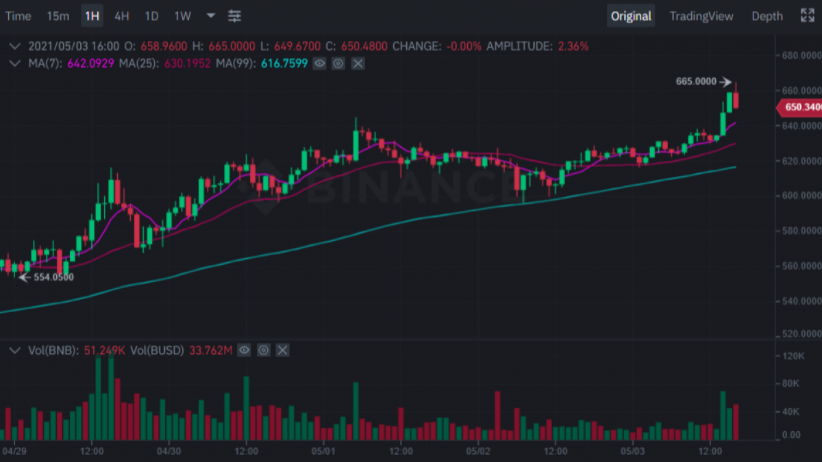 Binance coin (BNB) surges to $660