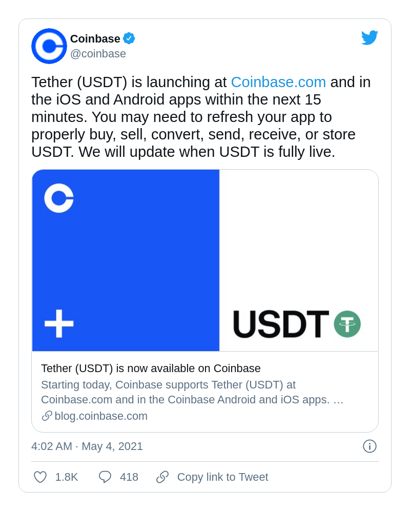 USDT added by Coinbase