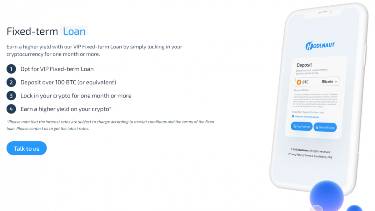 Hodlnaut offers Fixe-Term Loans for Sophisticated clients