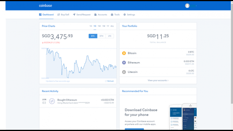Coinbase personal account interface