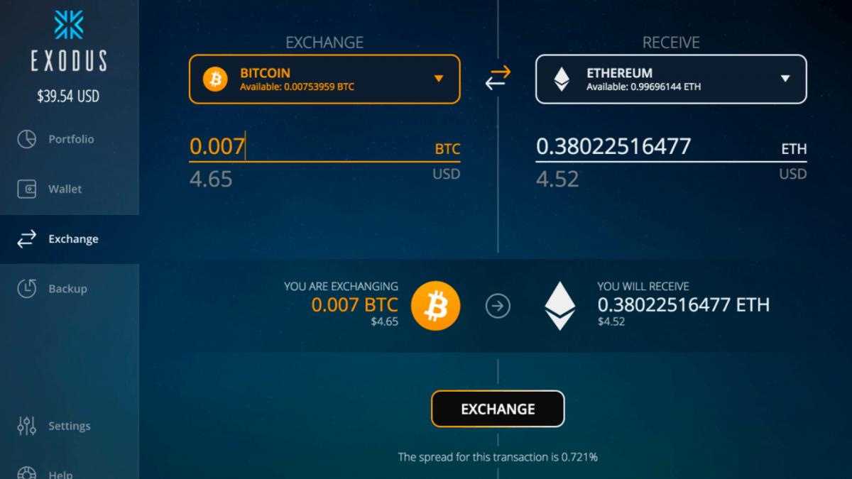 Exodus web interface – exchange operation