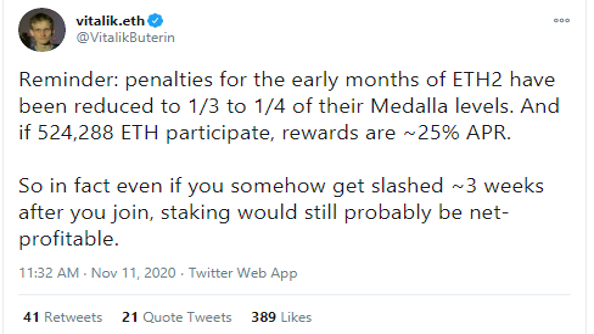 Vitalik announces reduction of Ethereum penalties