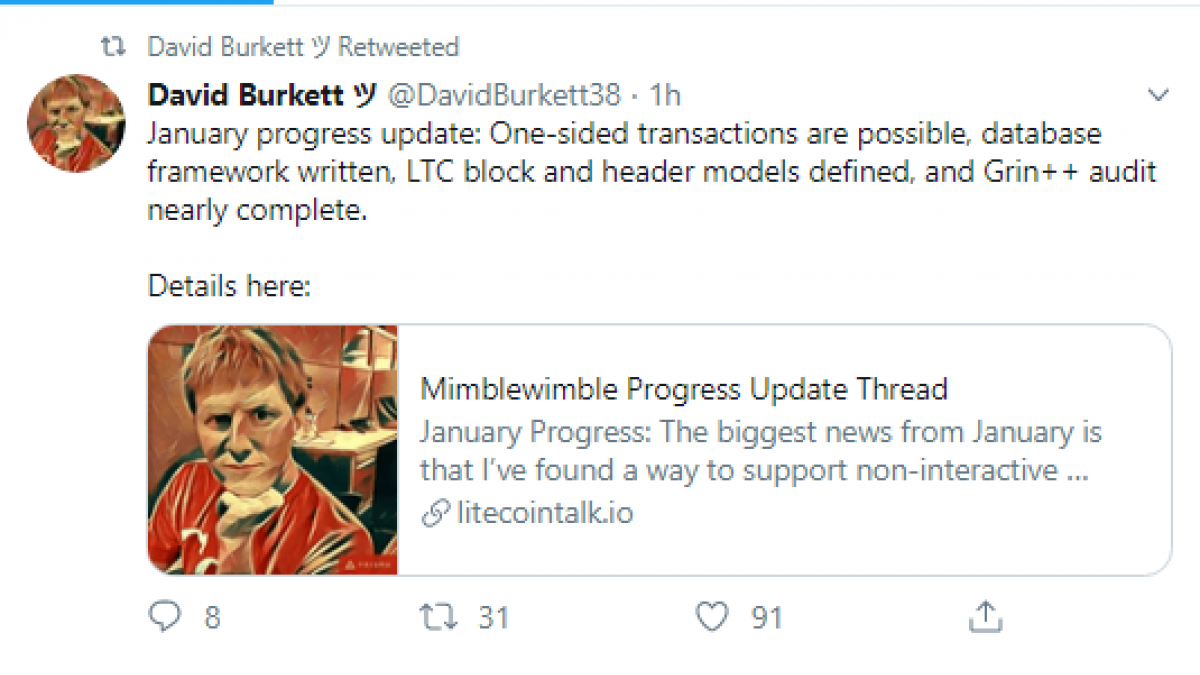 One-sided transactions for Litecoin via MimbleWimbleprotocol are ready, dev says