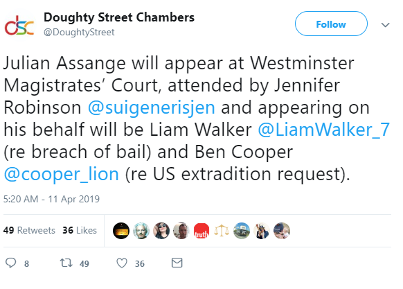 Theresa May approves of Assange's arrest