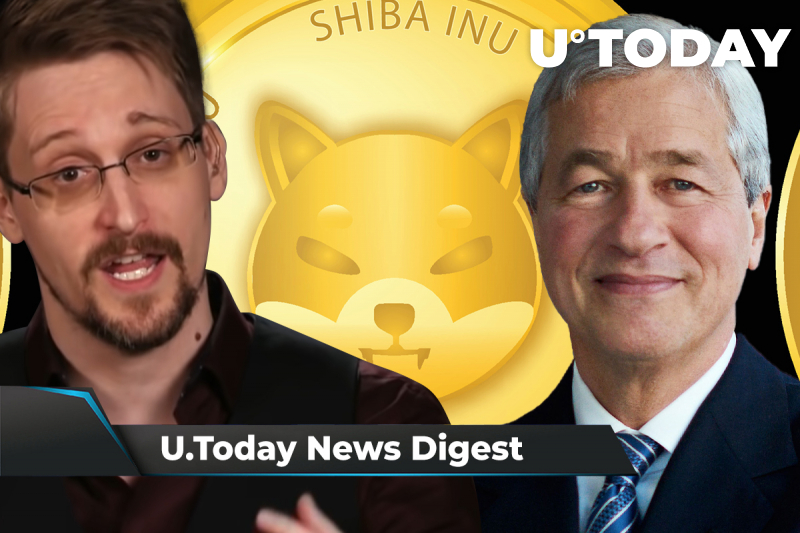 """SHIB Recovers After Major Retrace, Snowden Calls JPMorgan CEO """"Boomer,"""" 500,000 Ethereum Have Been Burned: Crypto News Digest by U.Today"""
