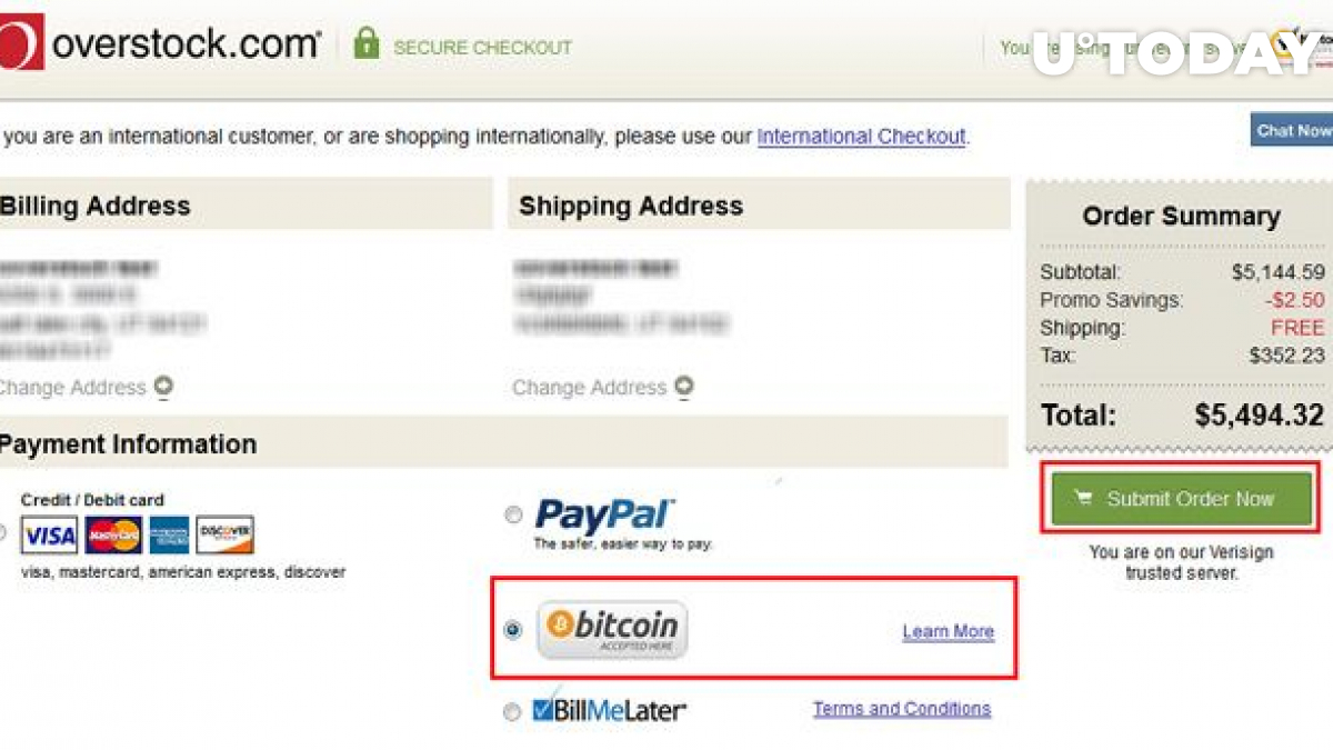 Overstock introduced BTC payments