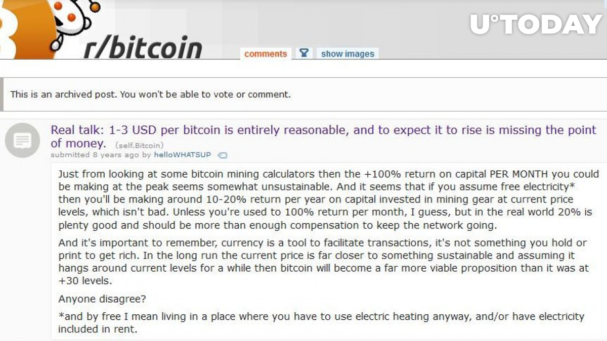 A Reddit post from 2011 showing skepticism towards Bitcoin price at $3.