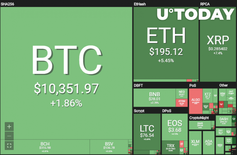 The cryptocurrency market is in the green