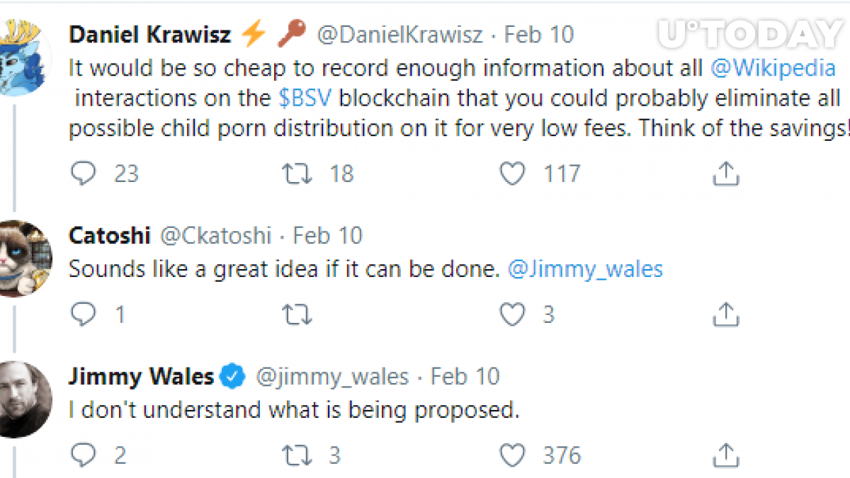 Jimmy Whales is sceptical on BSV usage in Wikipedia