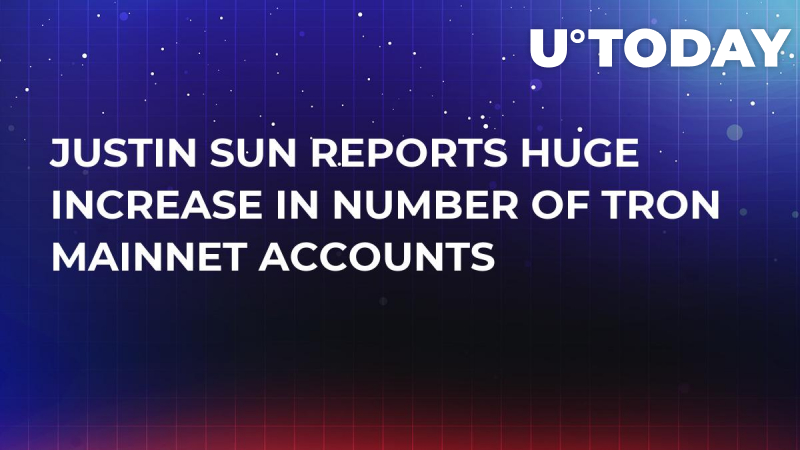 Justin Sun Reports Huge Increase in Number of Tron Mainnet Accounts