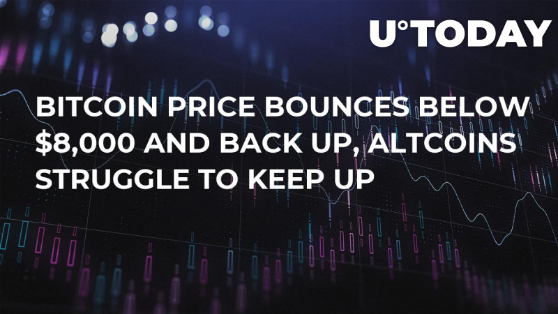Bitcoin Price Bounces Below $8,000 and Back Up, Altcoins Struggle to Keep Up