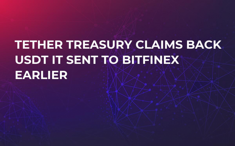 Tether Treasury Claims Back USDT It Sent to Bitfinex Earlier